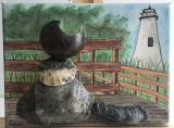 """Thurston, Lighthouse Cat"" by Leanne E. Smith. 6"" x 8"" mixed media"